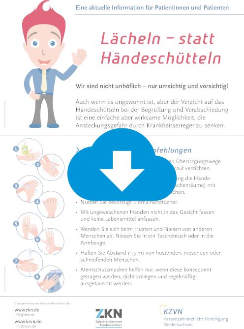 Lächeln statt Händeschütteln - Laden Sie hier die  Hygiene Empfehlungen der Kassenzahnärztlichen Vereinigung Niedersachsen herrunter.